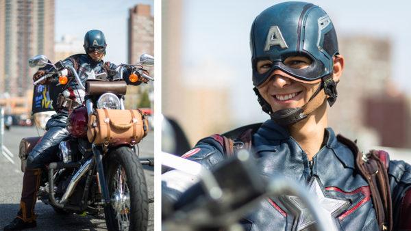 本物!?高速道路にてキャプテンアメリカ発見。最後の決めポーズがかっこすぎるだろ!ネットで話題。その正体がイケメンすぎる。